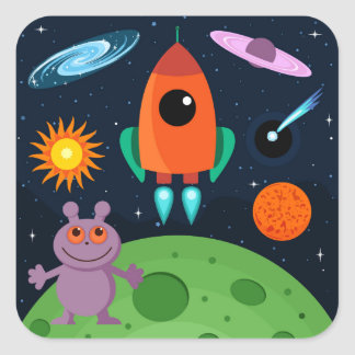 Space Square Sticker