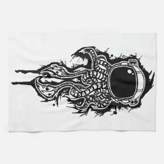 space squid kitchen towel