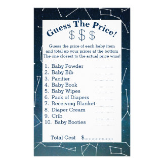 Space & Star Constellations Guess The Prices Flyer