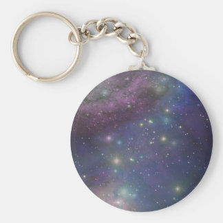 Space, stars, galaxies and nebulas basic round button keychain