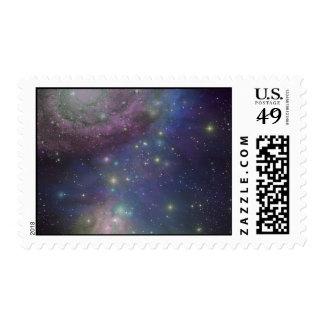 Space, stars, galaxies and nebulas postage stamp
