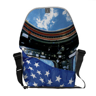 Space Station American Flag Earth Orbit Courier Bag