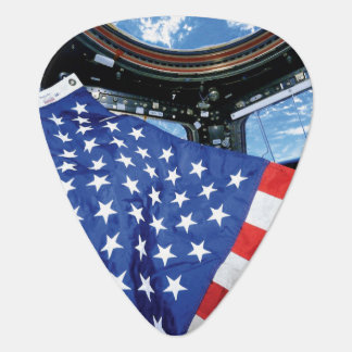 Space Station American Flag Earth Orbit Guitar Pick