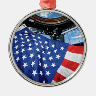 Space Station American Flag Earth Orbit Metal Ornament