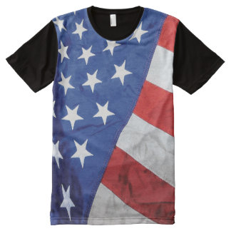 Space Station American Flag with Earth All-Over Print Shirt
