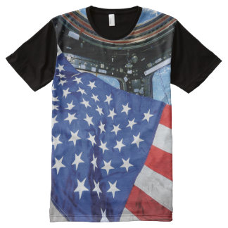 Space Station American Flag with Earth All-Over Print T-shirt