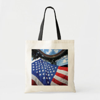 Space Station American Flag with Earth Budget Tote Bag