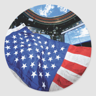 Space Station American Flag with Earth Classic Round Sticker