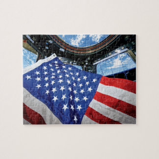 Space Station American Flag with Earth Jigsaw Puzzle