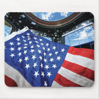 Space Station American Flag with Earth Mouse Pad