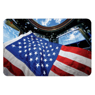 Space Station American Flag with Earth Rectangular Photo Magnet