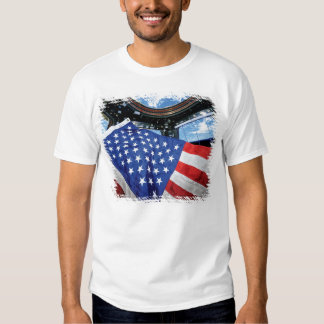 Space Station American Flag with Earth T Shirt