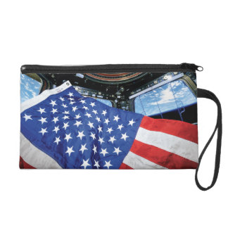 Space Station American Flag with Earth Wristlet Purse