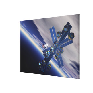 Space station. Computer artwork of a space 3 Canvas Print