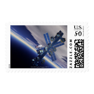 Space station. Computer artwork of a space 3 Postage