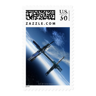 Space station. Computer artwork of a space Postage
