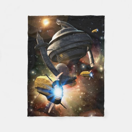 Space station fantasy small fleece blanket zazzle for Outer space fleece
