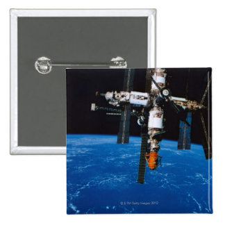 Space Station in Orbit 2 Inch Square Button