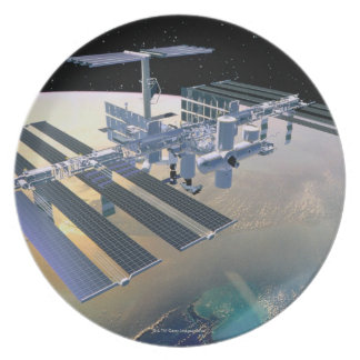 Space Station in Orbit 4 Plate