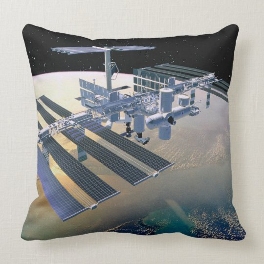 Space Station in Orbit 4 Throw Pillow