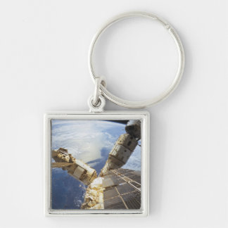 Space Station in Orbit 8 Silver-Colored Square Keychain