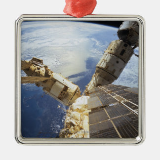 Space Station in Orbit 8 Square Metal Christmas Ornament