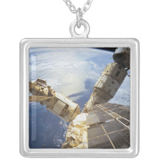 Space Station in Orbit 8 Square Pendant Necklace