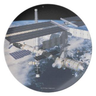 Space Station in Orbit 9 Dinner Plate