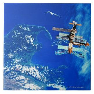 Space Station Orbiting Earth 2 Ceramic Tile
