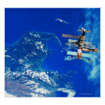 Space Station Orbiting Earth 2 Poster