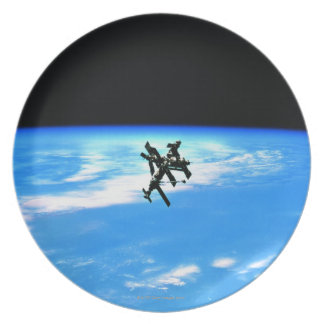 Space Station Orbiting Earth 4 Dinner Plates