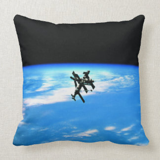 Space Station Orbiting Earth 4 Pillow