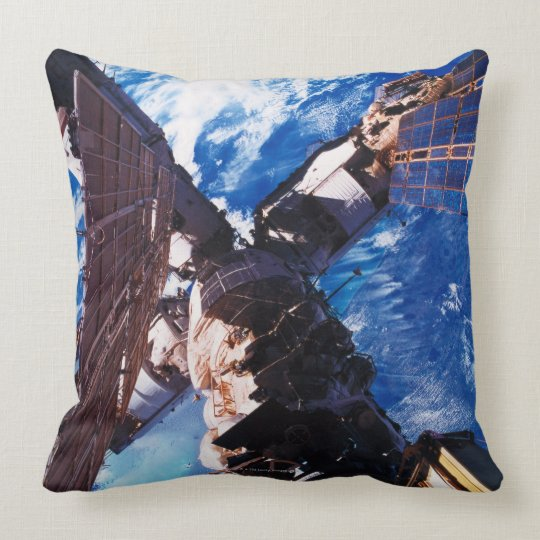 Space Station Orbiting Earth 5 Throw Pillow