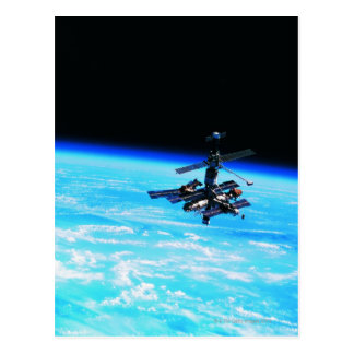 Space Station Orbiting Earth 7 Postcard
