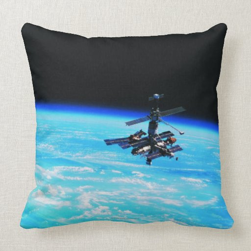 Space Station Orbiting Earth 7 Throw Pillow