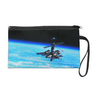 Space Station Orbiting Earth 7 Wristlet