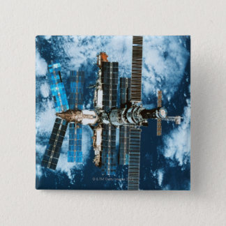 Space Station Orbiting Earth Button