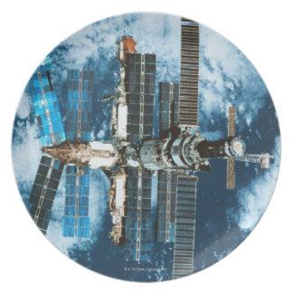 Space Station Orbiting Earth Melamine Plate