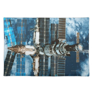 Space Station Orbiting Earth Cloth Place Mat