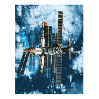 Space Station Orbiting Earth Postcard