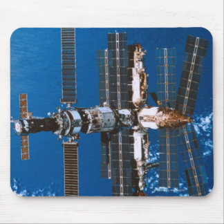 Space Station Orbiting in Space Mouse Pad