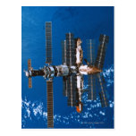 Space Station Orbiting in Space Postcard