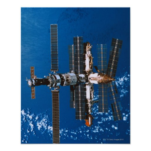 Space Station Orbiting in Space Poster