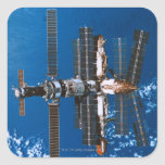 Space Station Orbiting in Space Square Sticker