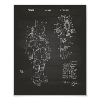 Space Suit 1973 Patent Art - Chalkboard Poster