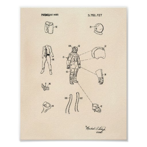 Space Suit 1973 Patent Art Old Peper Poster