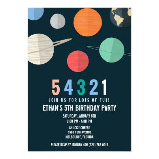 Space Theme Birthday Countdown Party Invitation