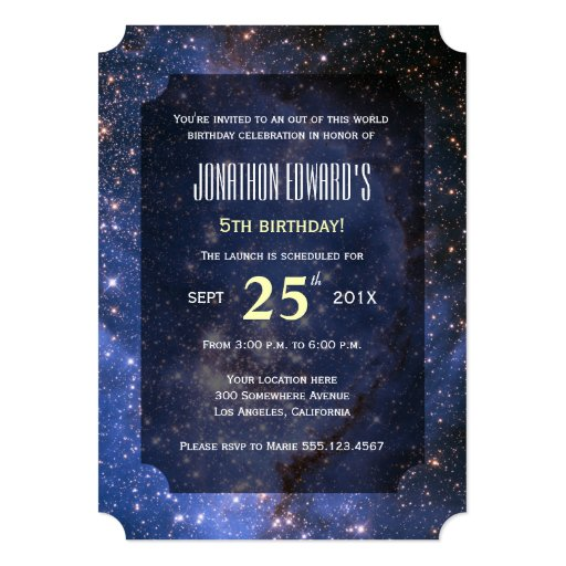 Space theme birthday party invitation 5 x 7 invitation for Space themed stationery