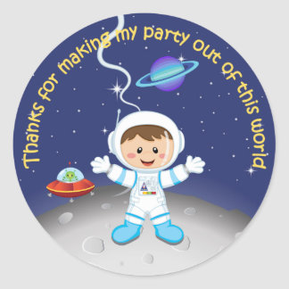 Space Theme Boys Birthday Thank You Classic Round Sticker