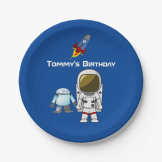 Space Theme Cartoon Birthday Paper Plate 7 Inch Paper Plate